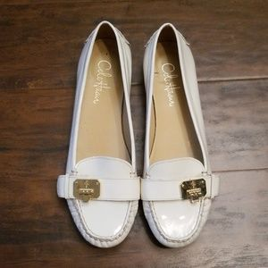 Cole Haan sz 9.5 B white patent leather loafers